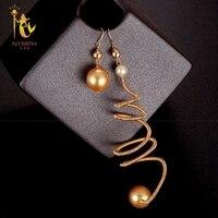 [Нимфа] Жемчужные Серьги Fine Jewelry возле круглого длинное Серьги с жемчугом для Для женщин 2018 Мода День рождения подарок уникальный E343