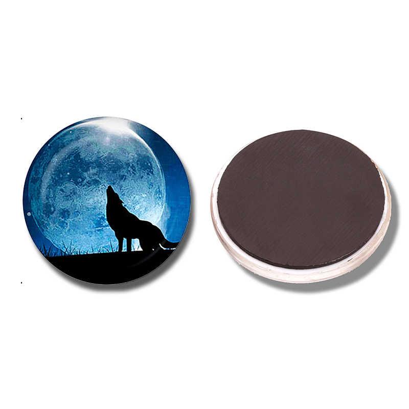 Wolf Hú Vào Mặt Trăng 30 MMFridge Nam Châm Fox Động Vật Thủy Tinh Cabochon Tủ Lạnh Từ Tính Dán Lưu Ý Chủ Trang Trí Nội Thất