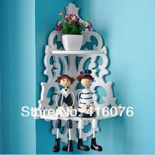 Free Shipping! Korean Style Hallow Out Storage Rack Wall Shelf Wall Hanger Home & Wall Decor Creative Gift White Color W1009