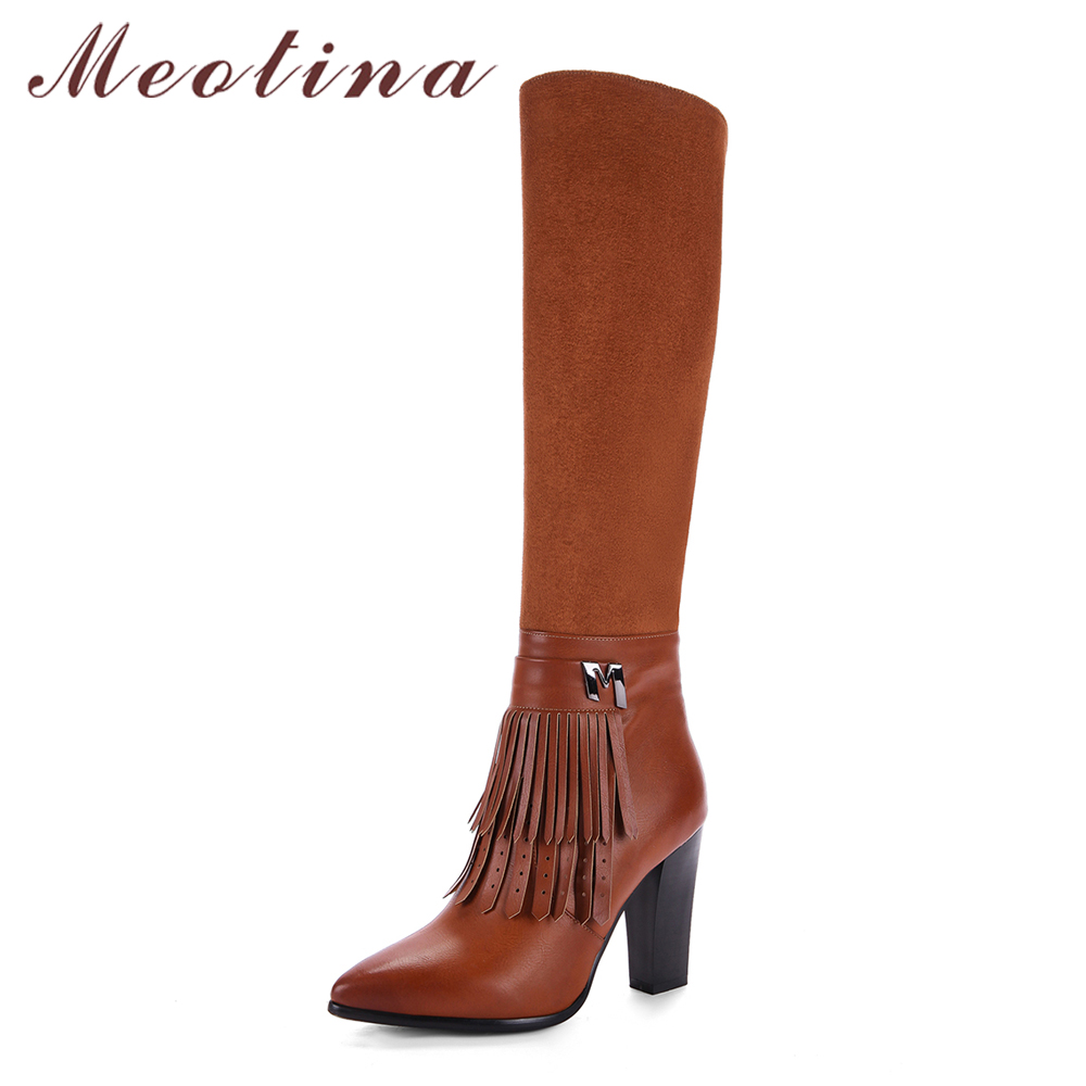 Meotina Winter Women Boots Tassel High Heels Knee High Boots Thick Heel Ladies Long Boots Zip Female Shoes Size 33-43 Shoes New