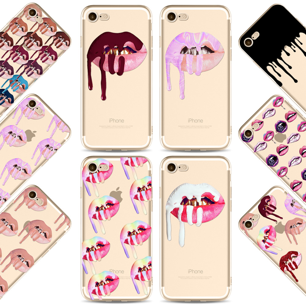 Colorido labio labios de graffiti sexy girl kylie phone case para iphone 7 7 plu