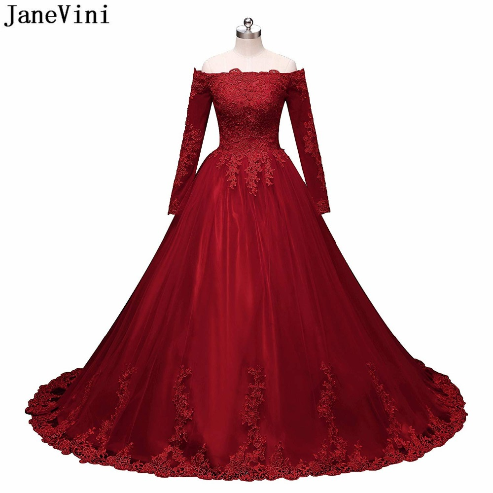 Janevini Ball-Gown Bridesmaid-Dresses Burgundy Formal Princess Boat Long Lace Tulle Sweep-Train