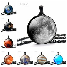 Full Moon Necklace Glass Cabochon Pendant Universe Planet Jewelry Solar System Necklace for Men Women Creative Gift(China)