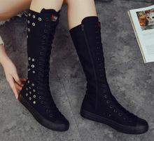 New Summer Women Shoes Casual Breathable Canvas High Top Zipper Round Toe Boots Flat Comfortable