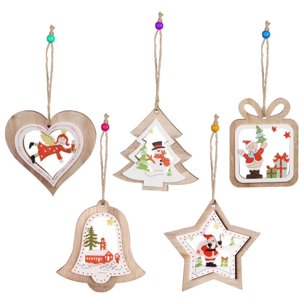 662bb927b100 Ourwarm 5pcs Wooden Christmas tree ornaments Rustic Santa Claus Snowman  Christmas Tree Pendant New Year Home