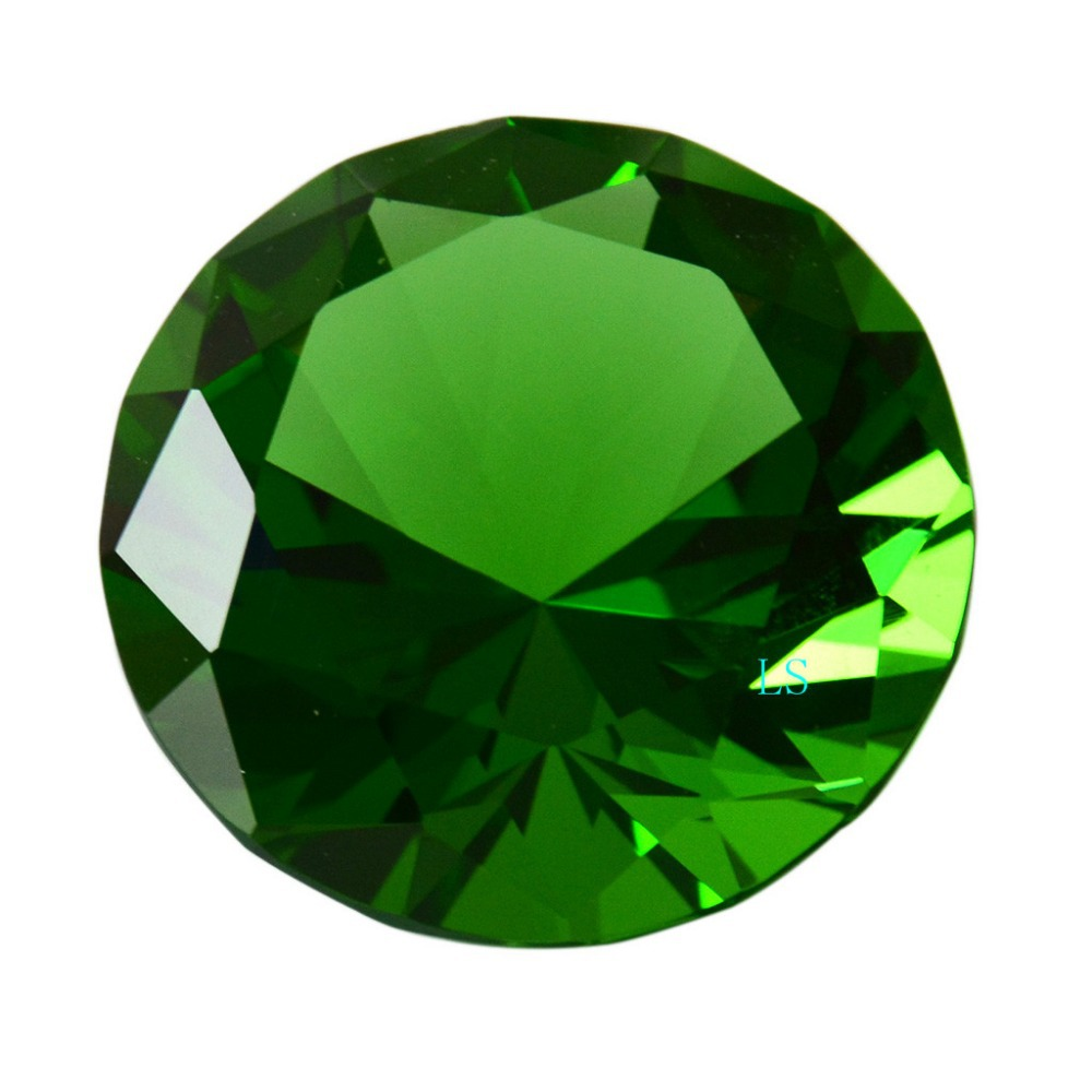 ot giant cut green paperweight diamond jewel products glass emerald