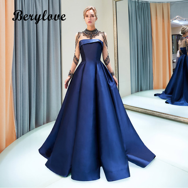 ec2eee5220b2 BeryLove Vintage Ball Gown High Neck Long Sleeves Evening Dresses Dark Navy  Blue Evening Gowns Satin Real Photos Prom Dresses