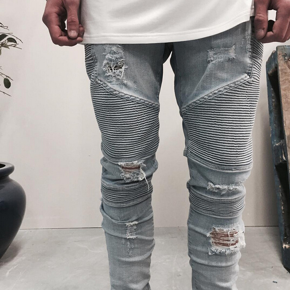 2017 Fashion New Locomotive Fold Hole with the Same Type of Jeans Hole Slim Stretch Feet Pants Male Jeans