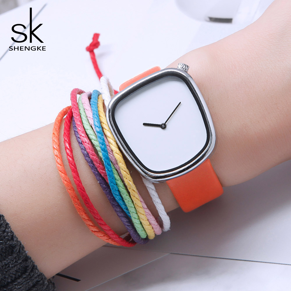 Shengke Brand Women Fashion Leather Watches Irregular Design Creative Ladies Quartz Watches Relojes Mujer 2018 SK Simple Clock ladies watches fashion red simple design black water resistant life quartz watch dress leather clock women casual relojes mujer