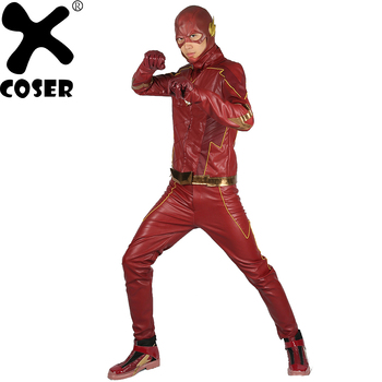 XCOSER Sale New Updated The Flash 4 Cosplay Costume DC Universe Superhero Red PU Leather Suit Halloween Cosplay Costume for Men