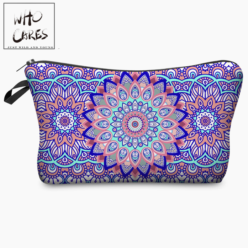 Mandala Flowers Round 3D Printing Cosmetic Bag 2018 Fashion Women Organizer Toiletry Bag with Zipper Mujer Neceser Maquillaje unicorn 3d printing fashion makeup bag maleta de maquiagem cosmetic bag necessaire bags organizer party neceser maquillaje