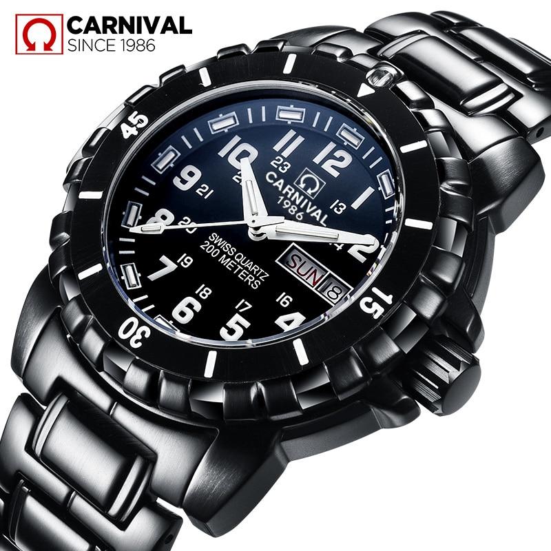Carnival Series Tritium Luminous Men s Sport Diving Watches Military Waterproof 200M Black Steel Strap Men