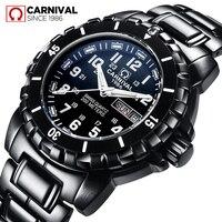 Карнавал Submariner серии трития световой Для мужчин спортивный дайвинг часы Военные Водонепроницаемый 200 м черный Сталь ремень Для мужчин часы