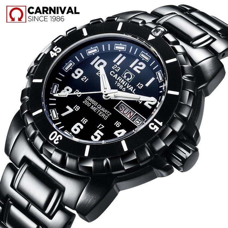 Carnaval série Tritium lumineux hommes Sport plongée montres militaire étanche 200 M bracelet en acier noir hommes montre 2018