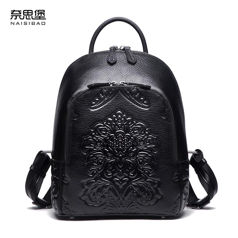 где купить NAISIBAO2018 New luxury fashion 100% high quality wild ladies leather leisure first layer leather bag по лучшей цене