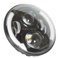 7 Inch 60W LED Headlight for Jeep Wrangler JK CJ LJ Harley Davidson H4 H13 Plug Headlamp with Blue Halo Angel Eyes