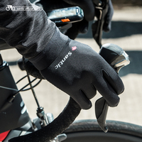 Santic Cycling Gloves Men Black Gel Warm Full Finger with Touch Function Shockproof Keep Warm Gear Autumn W8C09090