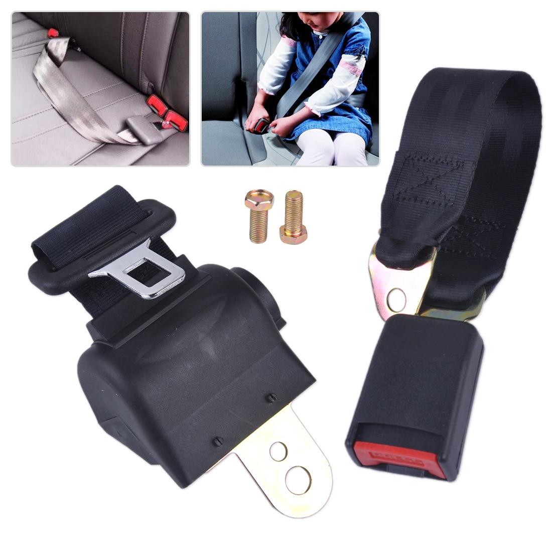 CITALL Car Universal Black 2 Point RetractableCar Auto Seat Safety Lap Belt Strap Buckle Adjustable Security Belt universal abs car safety belt buckle black