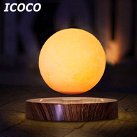 ICOCO New Arrival 10cm 3D Magnetic Levitating Floating Moon Light Rotating Lunar Table Lamp Romantic Night