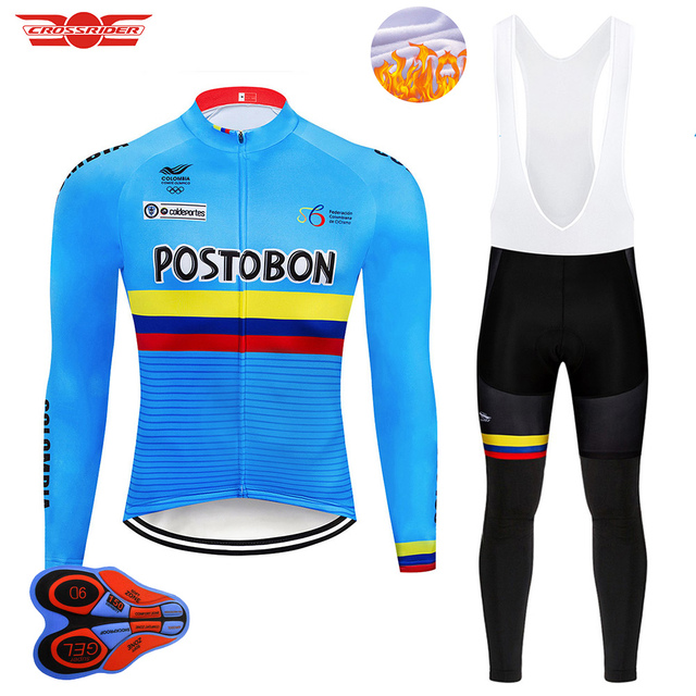 Crossrider 2018 Pro Team Colombia Cycling Jersey 9D Set MTB Bike Clothing  Men Ropa Ciclismo Winter Thermal Fleece Cycling Wear e01623115