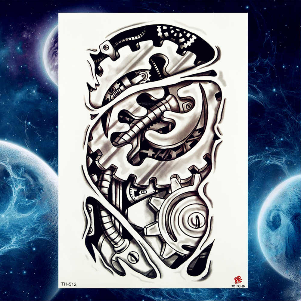 af8b777df ... Men Fashion Robotic Arm Tattoos Temporary Black Fake Wheel Women Leg  Tatoos Stickers Tribal Tatoos Sleeve