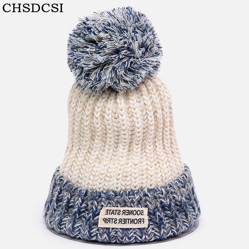 CHSDCSI 2017 Women Cotton Spring Winter Hats Beanies Knitted Cap Crochet Hat Fur Pompons Ear Protect Casual Cap Chapeu Feminino winter women beanies pompons hats warm baggy casual crochet cap knitted hat with patch wool hat capcasquette gorros de lana