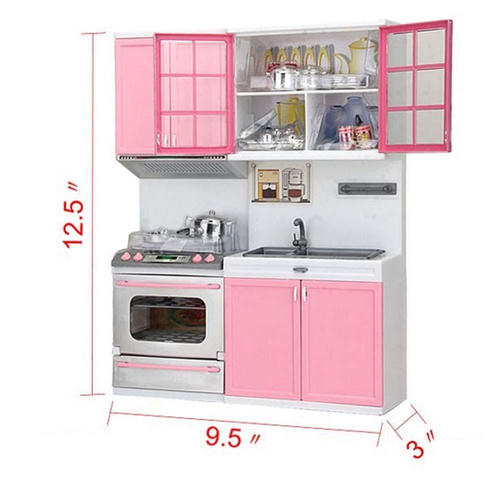 US $16.31 34% OFF|1 set Kid Kitchen Pretend Play Cook Cooking Set Pink  Cabinet Stove Fun Learning & Educational Toys Xmas Gifts for Baby &  Parent-in ...