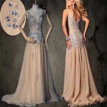 34d549df982db32 Спагетти ремни Глубокий v-образный вырез AB Красочные камни Бисероплетение  платье для выпускного Шампань опущенная талия сексуальное недор.