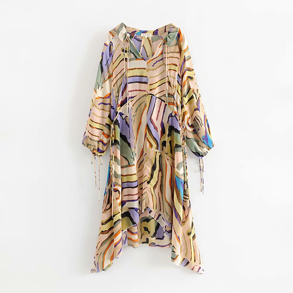 New  Irregular Printed Summer Colorful Dress Women Chiffon Seaside Holiday Beach