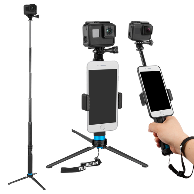 TELESIN Extendable Aluminum Alloy Selfie Stick with Detachable Tripod for GoPro Hero 7/6/5/4/Xiao Yi Action Camera/
