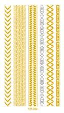 VHC202 Waterproof Tattoo Golden Gold Sliver Links Bracelet Fake Glitter Metallic Temporary Tattoo Stickers Body Art