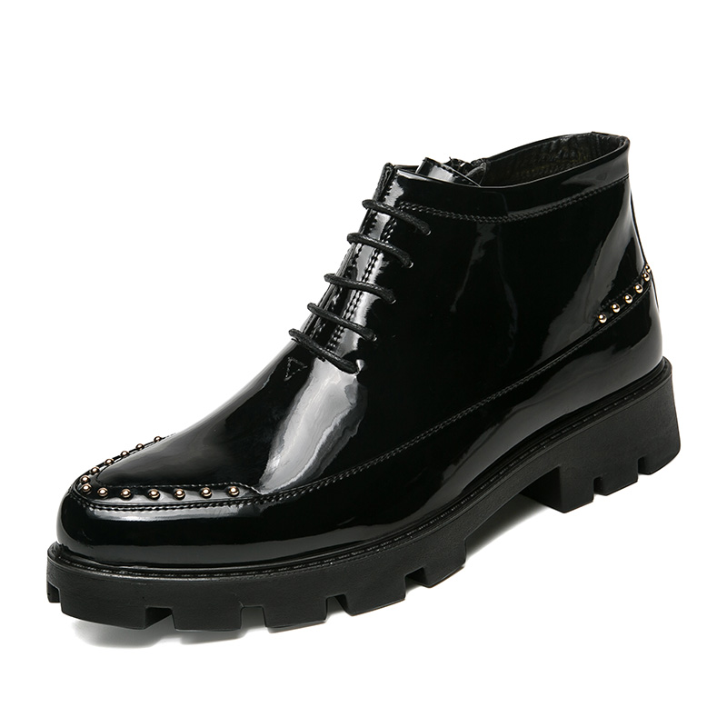 British men casual polished bright surface patent leather shoes glossy platform oxfords shoe motorcycle ankle boots