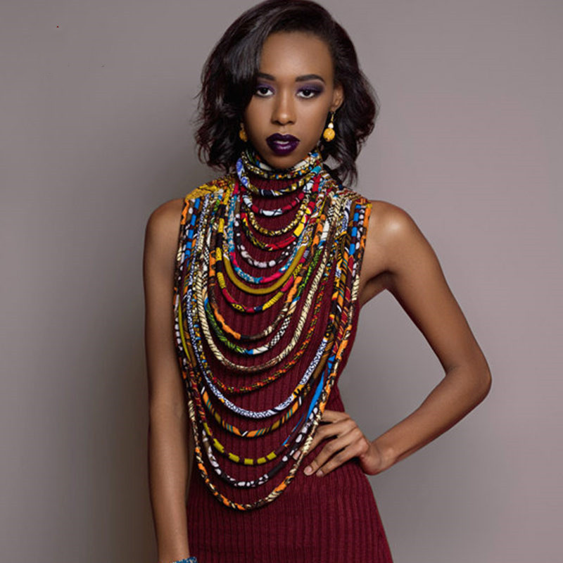 Special Link Ankara Beautiful Multi Strand Necklace African