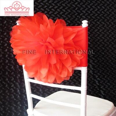 100 шт. Красочные Большой органзы цветок Большой розы лайкра Председатель группы председатель створки для свадьбы стул украшения - Цвет: Красный