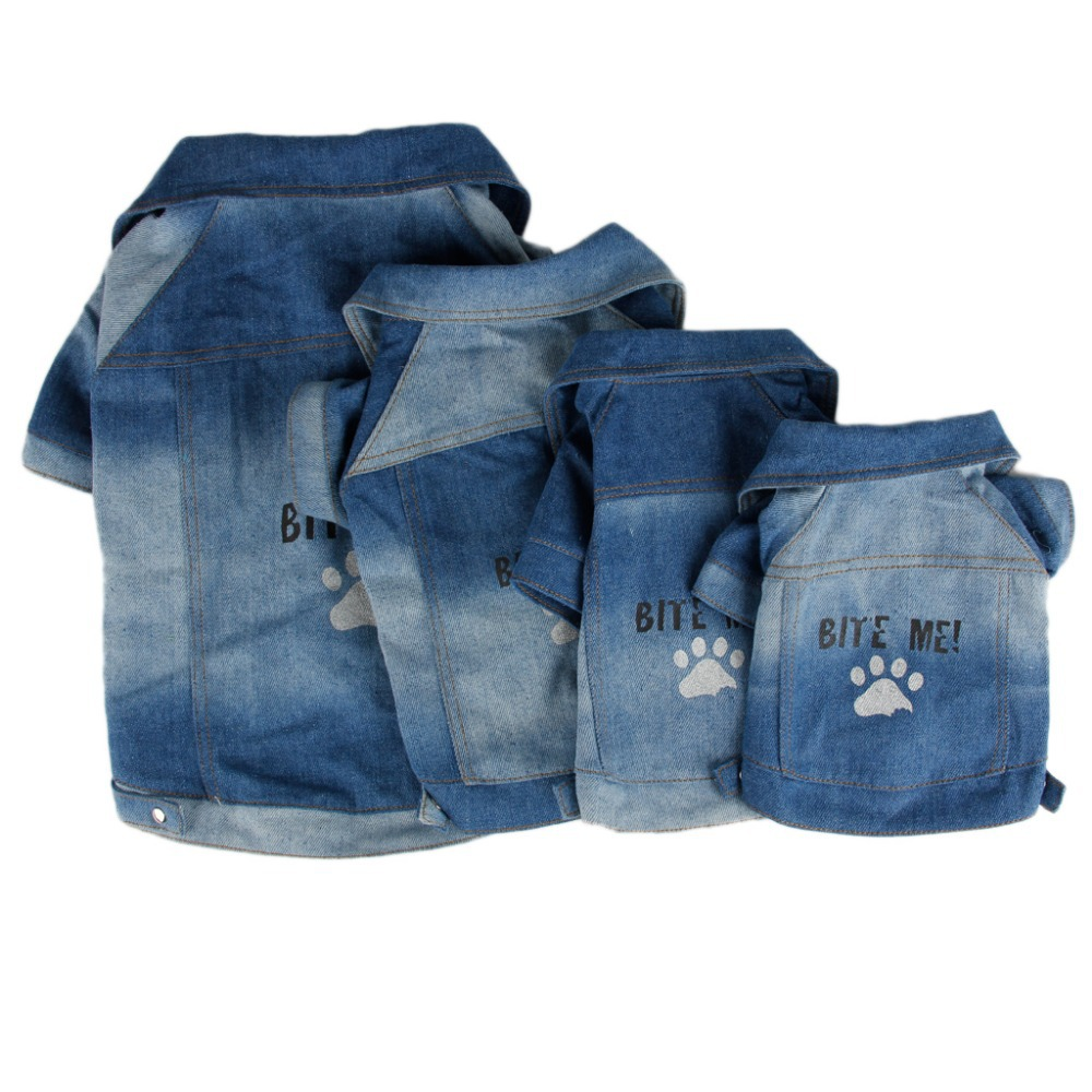 Denim Clothes For Pet Dog Puppy Paw Print T Shirt Clothing