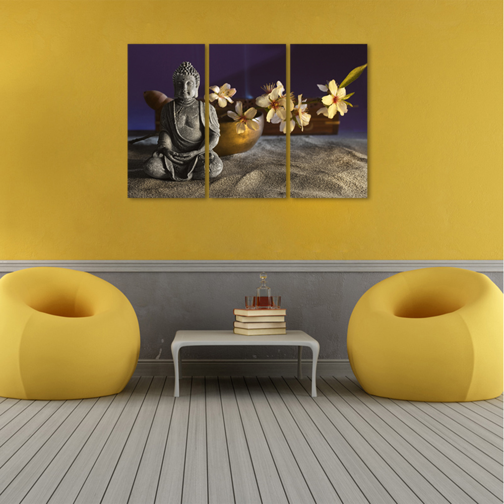 HD Stone Buddha Sakura Wall Art Painting 3 Pieces for Home Wall ...