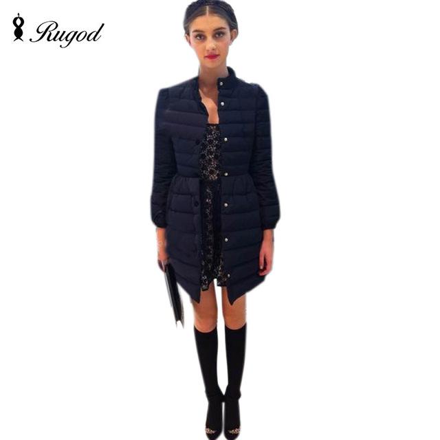2017 moda inverno arco fino cintura fina varredura bulkness médio-longo wadded jaqueta de algodão-acolchoado jacket casacos