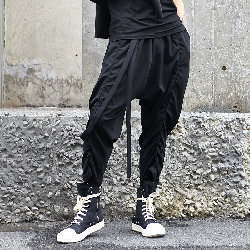 Male Trousers Harem-Pants Ribbon Joggers Men Streetwear Black Designer Cotton Casual