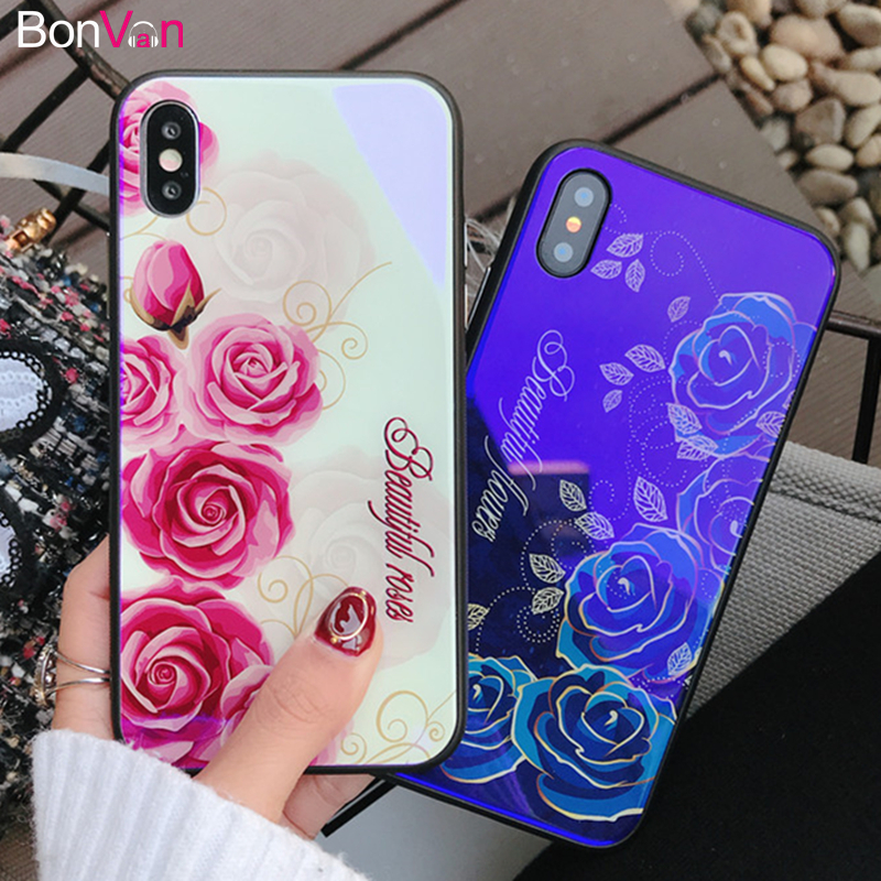 BONVAN Tempered Glass Case For iPhone X Blue Ray Floral Hard Back Cover Soft Silicone Bumper For iPhone 7 6S 8 Plus 6 Plus Cases