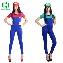 Adult Super Mario Costumes Women Luigi Clothing Sexy Plumber Costume Halloween Bros Cosplay For