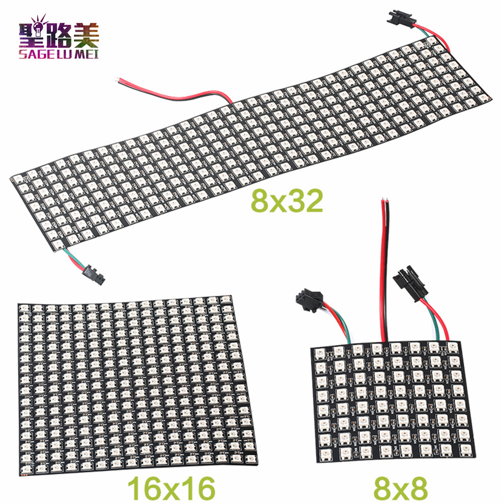 DC5V 8*8,16*16,8*32 Pixels WS2812 Digital Flexible LED Programmed Panel Screen Individually Addressable Full Color Display Board
