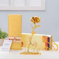 2017 Presentes Dia Dos Namorados 25 cm de Comprimento 24 k Ouro Rosa, Golden Rose Flor Para a Decoração da Casa e Venda Quente