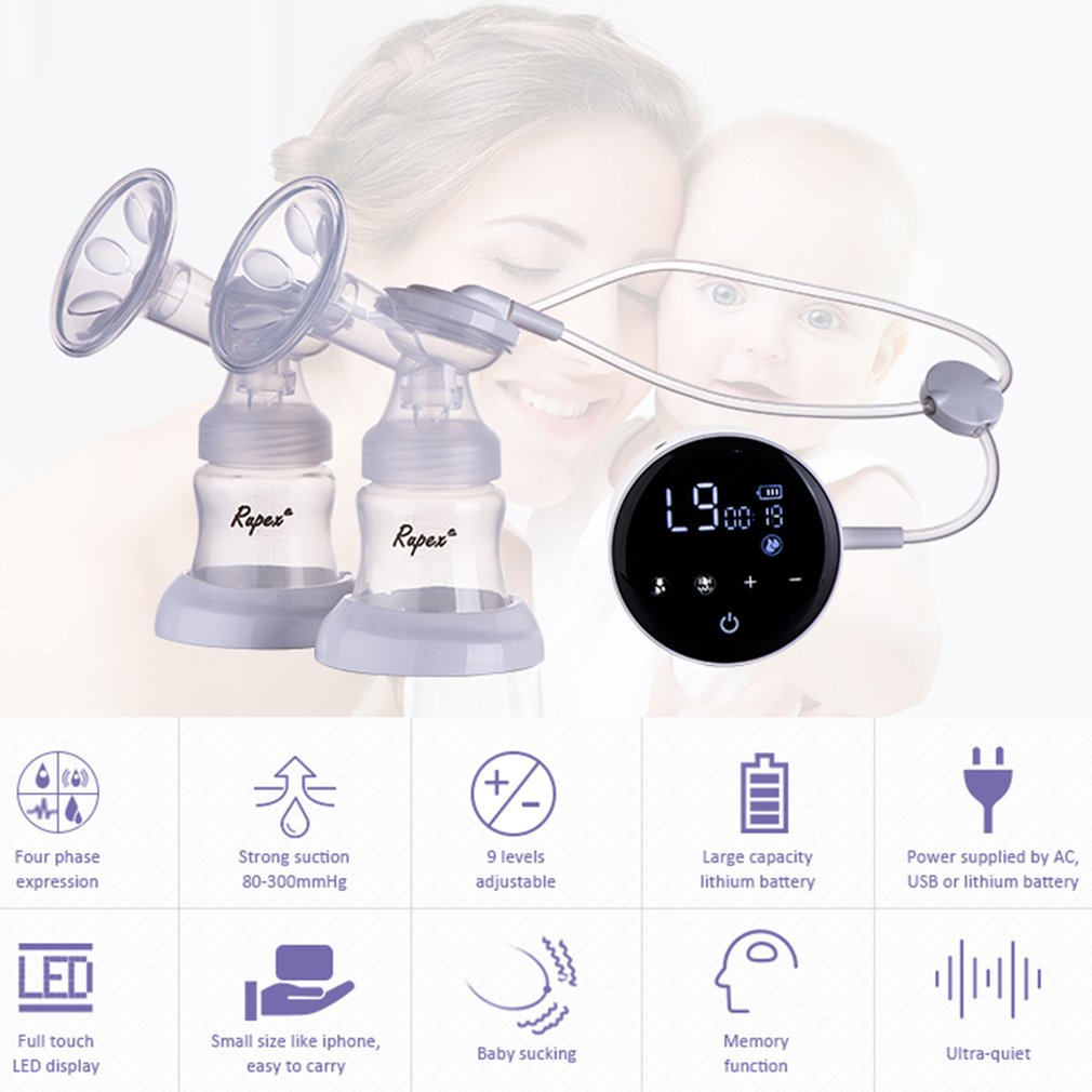 New Double Electric Breast Pumps Touch Screen Single Double Nipple Suction USB Power Milk Pump Maternity Nursing Accessories