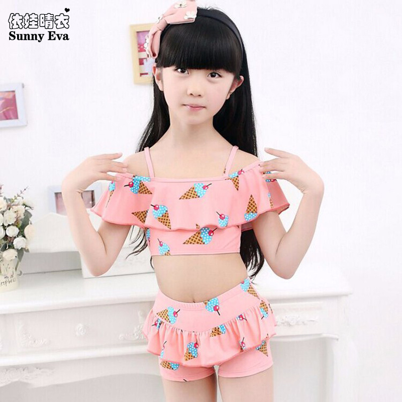 sunny eva two pieces girl swimsuit Swimming Accessories icecream little girls swim suits toddlers bathing suits bikinis