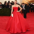 Strapless Hot Red Satin Celebrity Dresses 2017  Ruched A-Line Elegant Red Carpet Dresses Bow Sash Draped Formal Party Dresses