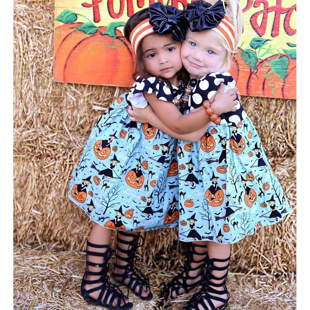 Halloween Party Toddler Costume For Kids Baby Girls Halloween Pumpkin Cartoon Princess Dress Outfits Clothes Sep26
