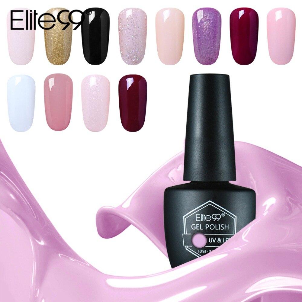 Elite99 10 мл УФ гель лак для ногтей, Гелевый лак Nail Art Fashion Блеск Цвета дополнительный гель Лаки светодио дный UV гель для ногтей 59 Цвета