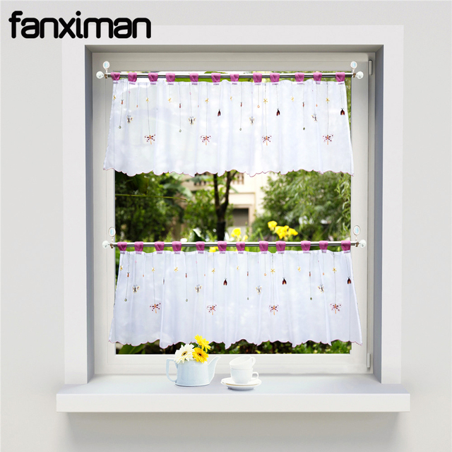 1 PC Short Kitchen Curtains Sheers Pastoral Window Blinds Tab Top Butterfly Floral Embroidered Cafe