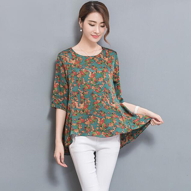 Plus Size 2018 New Summer Three Quarter Sleeve Print Mother Silk   Blouse     Shirt   Green Flower womens tops and   blouses