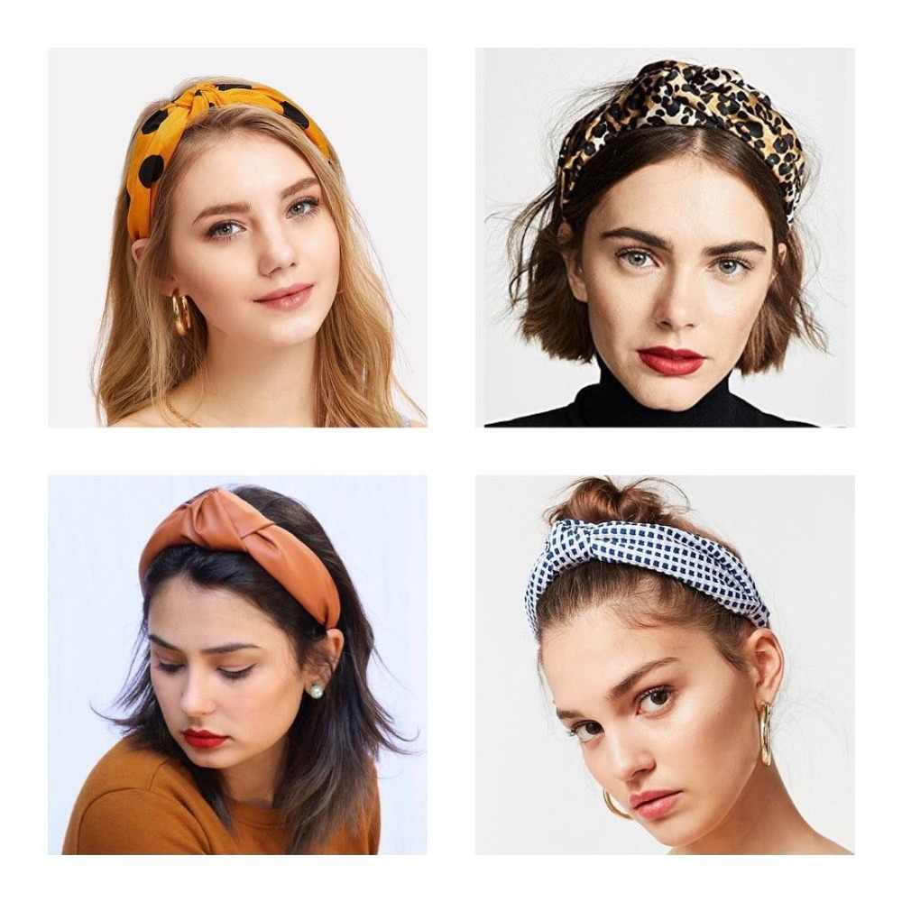 Dvacaman 2019 Trendy Leopard Print Cross Headband for Women Wide Hairband Twisted Knotted Hair Band Hair Accessories Headwear